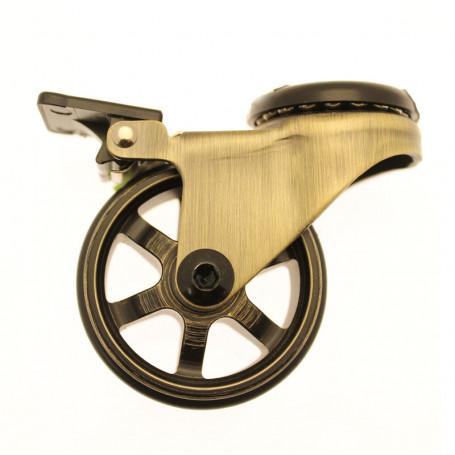 Roulette Design Pivotante Gold 50mm oeil avec Frein