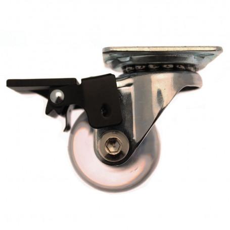 Petite Roulette Ronde Pivotante de 35mm Transparente à Platine avec Frein