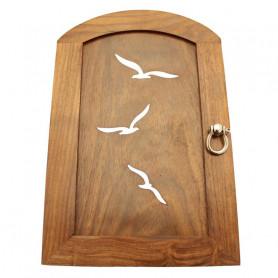 Boîte à Clés Oiseaux, en Bois avec décor Laiton Nickelé.