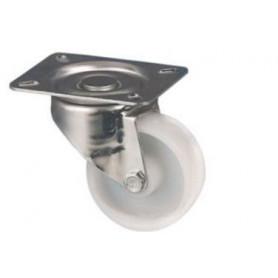 Roulette pivotante à platine en nylon blanc