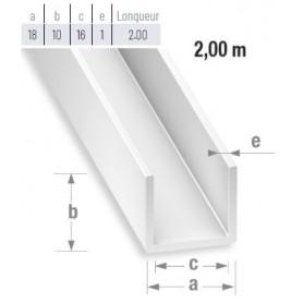 Profile PVC blanc en U de 2 mètres