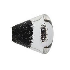 Bouton de Meuble Conique Micro Bulles Noir avec Insert