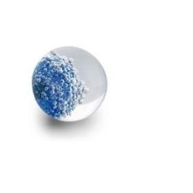 Bouton de Meuble Sphérique Micro Bulles Bleu avec Insert