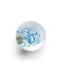 Bouton de Meuble Sphérique Tubes de Bulles Bleu avec Insert