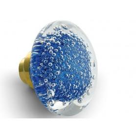 bouton de porte disque microbulles bleu