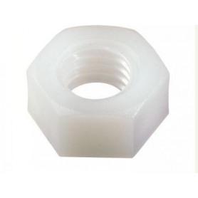 écrou blanc en nylon ou plastique