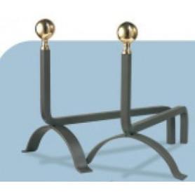Chenets en acier et boule laiton modèle Byblos