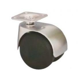 Roulette pivotante à double galets de 50 mm monture métal