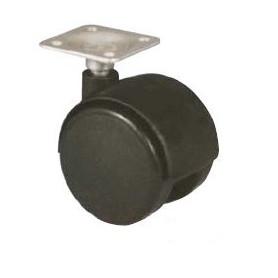 Roulettes pivotantes à platine pour fauteuils ou petit mobilier