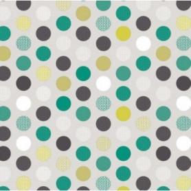 Adhésif fantaisie Pois multicolores fond Gris 20 Mètres x 45 cm