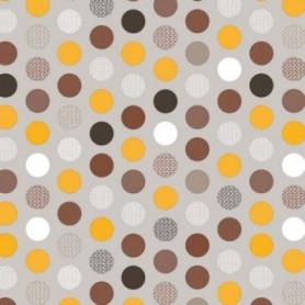 Adhésif fantaisie Pois multicolores fond Taupe 20 Mètres x 45 cm
