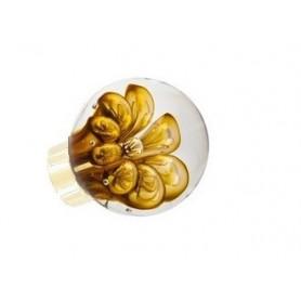 bouton de porte sphérique bulles de fleur Jaune Topaze Laiton