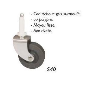 Roulette pivotante caoutchouc à tige