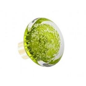bouton de porte en verre forme disque microbulles Vert Anis Laiton