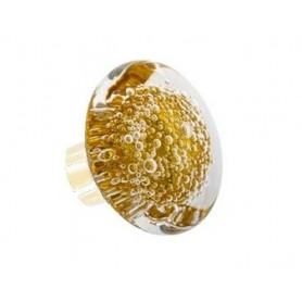 bouton de porte en verre forme disque microbulles Jaune Topaze Laiton