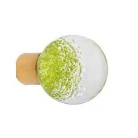 Bouton de Meuble Sphérique Micro Bulles  Vert Anis avec Embase