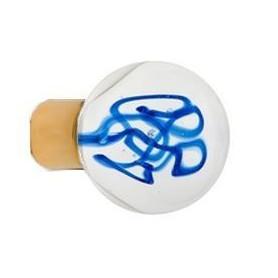 Bouton de Meuble Sphérique Tubes de Bulles Bleu avec Embase