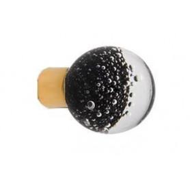 Bouton de Meuble Sphérique Micro Bulles Noir avec Embase
