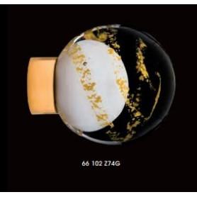 Bouton de Porte Malo Volutes Blanc Embase Or Brillant Paillettes d'Or