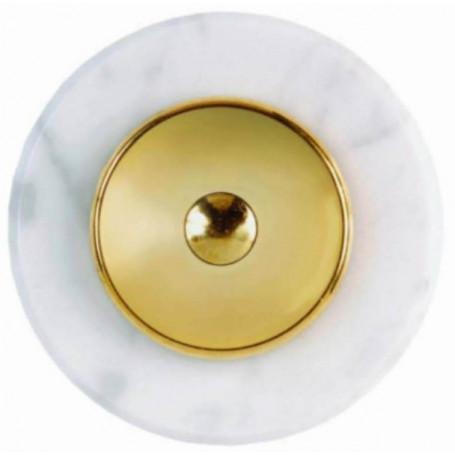 Sonnette ronde en marbre blanc et laiton