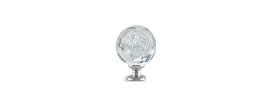 Boules d'escalier en verre, modèles LOUPE des Verreries de Bréhat
