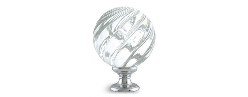 Boules d'escalier en verre, modèles VRILLE des Verreries de Bréhat