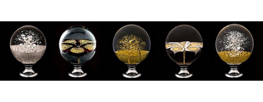 Boules d'escalier en verre et métaux précieux, gamme prestige des Verreries de Bréhat