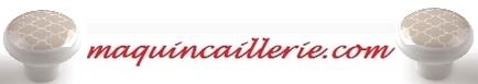 Bouton porcelaine sable et logo