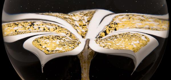 Boule d'escalier en verre game Prestige Orchidée Or et Blanc Verreries de Bréhat