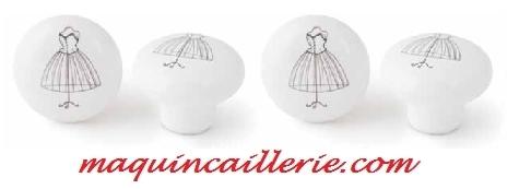 Boutons porcelaine motif mannequin et logo