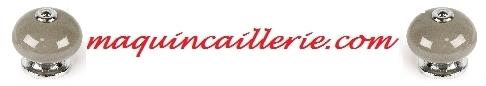 Logo Bouton de meuble porcelaine taupe