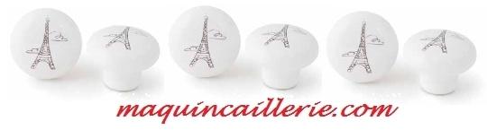 Boutons en porcelaine blanc décor Tour Eiffel