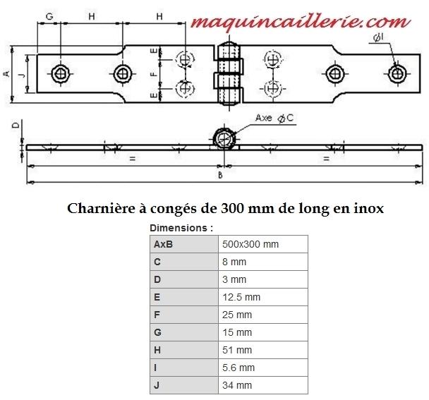 Cotes de la charnière à congés inox de 300 mm