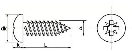 Schéma de la vis Parker inox marine tête ronde