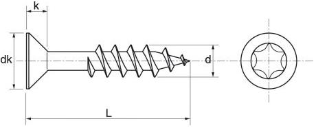 Schéma des vis VBA inox A4 TF Torx